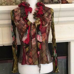 Alberto Makali tie neck top velvet, plaid, lace
